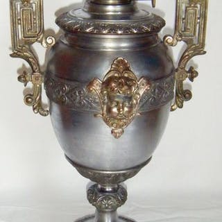 Öllampe - Historismus - Zinn/ Guss/ Messing /Glas /Marmor - 1880 /1900
