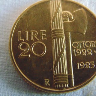 Italy - Kingdom of Italy - 1922-1923 lire 20 fascetto oro...