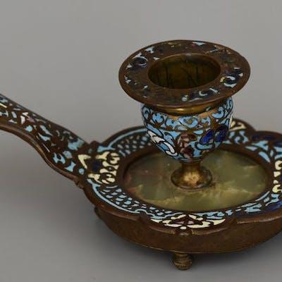 Bougeoir à main  - Napoléon III - Bronze d'émaux cloisonnés - XIXe siècle