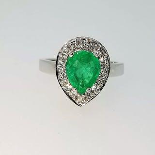 18 kt. White gold - Ring - 1.29 ct Emerald - Diamonds