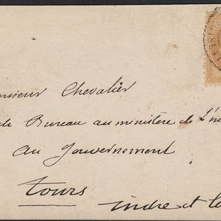 Frankreich 1870 - Balloon mail 'Les Etats-Unis' on map...
