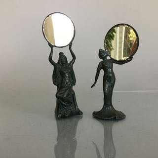2 art nouveau patinated table mirror maidens in pewter