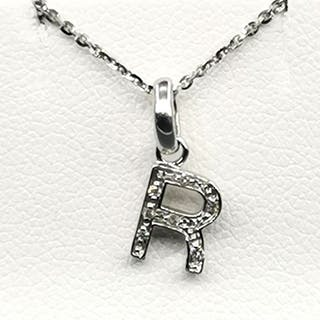 18 kt. White gold - Necklace with pendant - 0.09 ct Diamond