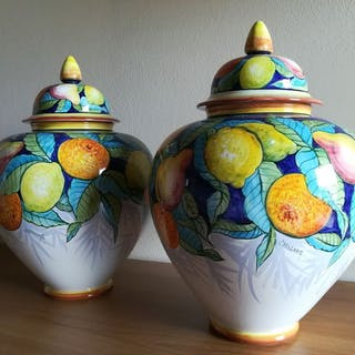 Antonio Carlesso - Glas mit Deckel (2) - Keramik von Nove (Bassano)