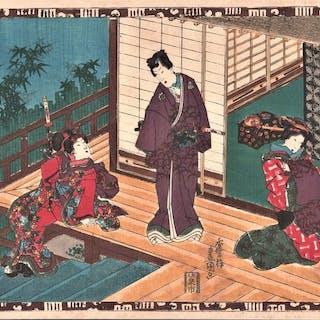 Original Holzschnitt - Utagawa Kunisada (1786-1865)...