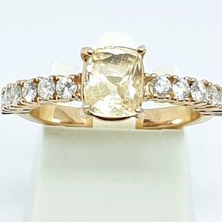 18 kt. Pink gold - Ring - 1.80 ct Sapphire - Diamonds