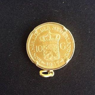 The Netherlands - 10 Gulden 1917 Wilhelmina in hanger - Gold