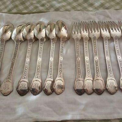 Couvert, 6 cuillères et 6 fourchettes (12) - Argent 950 - France - XX siècle