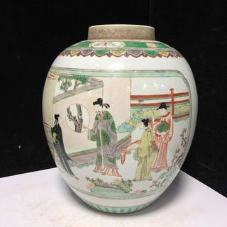 Pot - Famille verte - Porcelain - character story - China - Early 20th century