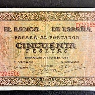 Spanien - 50 Pesetas 1938 Serie D - Pick 112