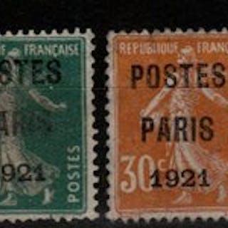 "Frankreich 1920/1922 - Selection of Pre-postmarked ""Paris"" overprints"