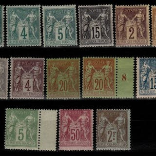 Francia 1876/1900 - Selection of Classic Sage types with the 15 cts Type II N°61