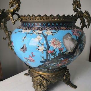 earthen jar (1) - Copper - rare cloisonne enamel - Japan - 19th century