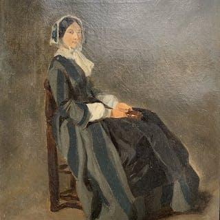 Ecole française vers 1850 - Portrait de femme assise