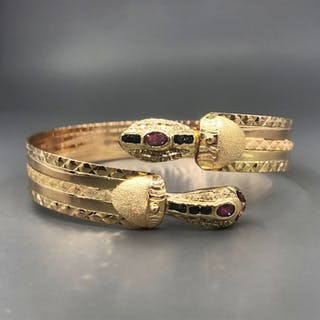 18 kt. Yellow gold - Bracelet - 0.22 ct Diamond - Rubys, Sapphires