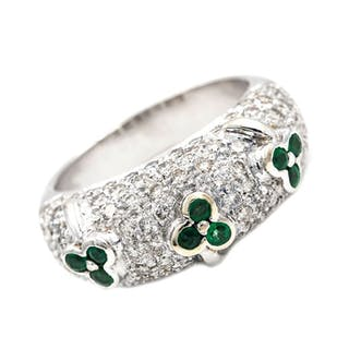 18 quilates Oro, Oro blanco - Anillo - 1.30 ct Diamante - Esmeralda