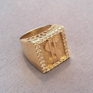 18 kt. Yellow gold - Ring Diamond - Diamonds