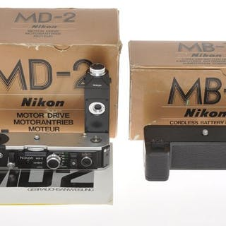 Nikonnice motor drive MD-2 with MB-1 battery holder for Nikon F2 cameras