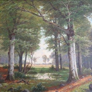 Jacobus Johannes van Poorten (1841-1914) - Waldlichtung mit Reisigsammlerin
