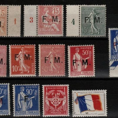 Francia 1901/1964 - Military postage stamps - Yvert n°1 à 10 + 12/13