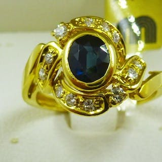 18 kt. Gold - Ring - 1.80 ct Sapphire - Diamonds