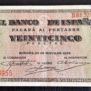 Spanien - 25 Pesetas 1938 Serie B - Pick 111