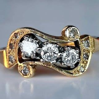 18 kt. White gold, Yellow gold - Ring - 0.32 ct Diamond - Diamonds