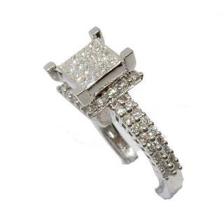 Kc - 14 kt. Gold, White gold - Ring, 0.92 total cts Diamond - Diamonds