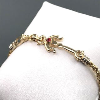 18 kt. Yellow gold - Bracelet - 0.06 ct Ruby