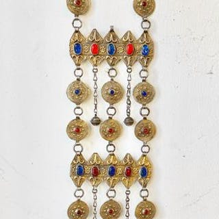 Hair adornment - Glass, Silver gilded +800 - Yomud - Turkmenistan