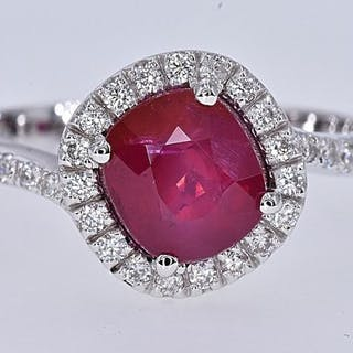 18 kt. White gold - Ring - 2.32 ct AIGS Natural Unheated Ruby - Diamonds