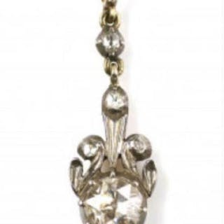 14 kt Gelbgold, Silber - Anhänger Diamant - Diamanten