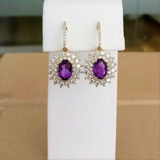 18 kt. Yellow gold - Earrings - 2.49 ct Amethyst - Diamonds