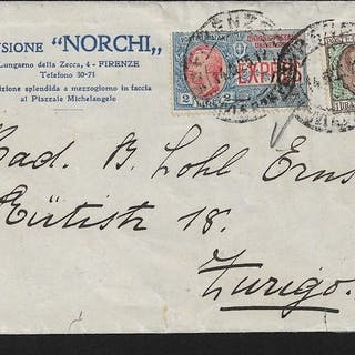 Italien Königreich - Letter sent from Florence to Zurich franked with floral L