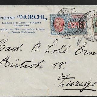 Italia Regno - Lettera da Firenze a Zurigo affrancata con Floreale L
