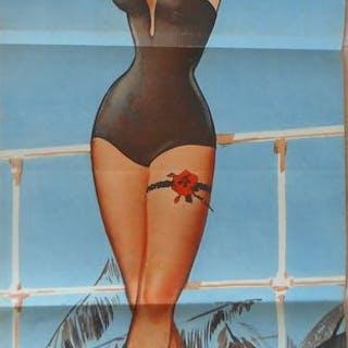 Pierre Laurent Brenot - Pin-up  - La jaretelle avec une rose  - 1950