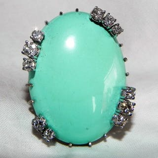 White gold - 585 XXL Ring Natural Turquoise 1 Ct Brilliant Turquoise