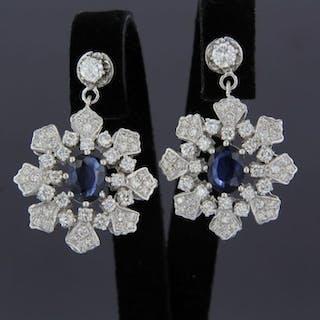 18 kt. White gold - Earrings - 2.40 ct Diamond - Sapphire