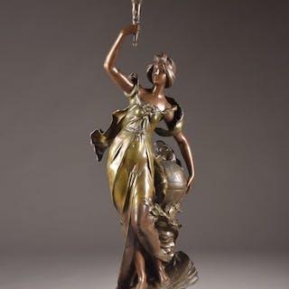"Auguste Moreau (1834-1917)- ""La Science"", large (82 cm) female figure sculpture"
