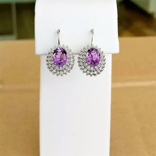 18 kt. White gold - Earrings - 2.33 ct Amethyst - Diamonds