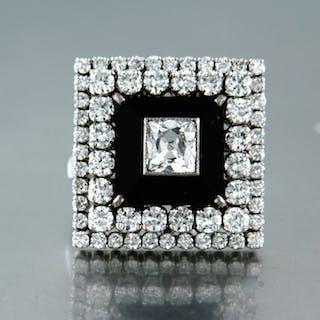 14 kt. White gold - Ring - 3.30 ct Diamond - onyx