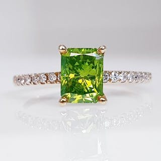 14 kt. Gold - Ring - Clarity enhanced 1.21 ct Diamond - Diamond