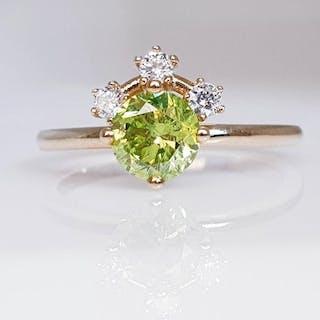 14 kt. Yellow gold - Ring - Clarity enhanced 1.11 ct Diamond