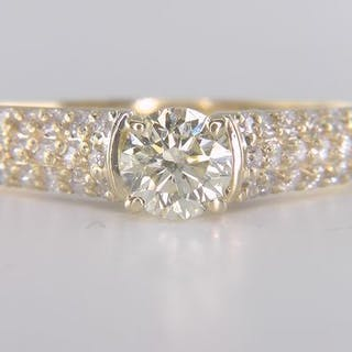 14 kt. Yellow gold - Ring - Clarity enhanced 1.17 ct Diamond - Diamonds