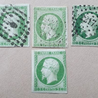 Frankreich 1854 - MLH and cancelled all colors type stamps № 12
