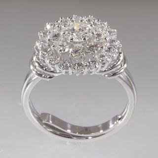 Platinum - Cocktail ring - Anno 1970 - Diamonds TDW 2.91 ct