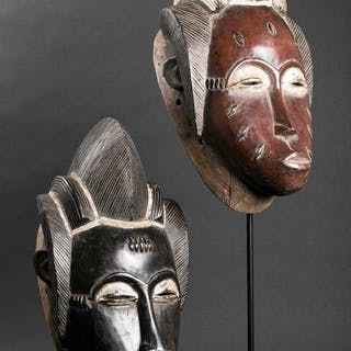 Pair of Goli masks - Baoule - Côte d'Ivoire
