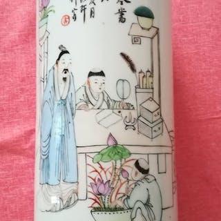 Vaso - Porcellana - Monaci d'apprendimento - Cina...