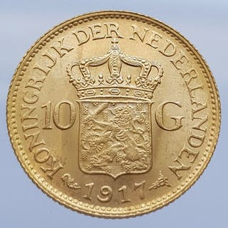 Paesi Bassi - 10 Gulden 1917 Wilhelmina - Oro