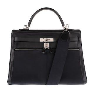 Hermès - Rare Kelly Lakis 35 cm bandoulière cuir et toile H noir Sac bandoulière